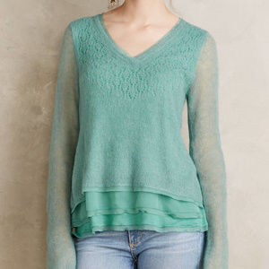 NWT! KNITTED & KNOTTED Chiffon-Hem Pullover (Sz.M)